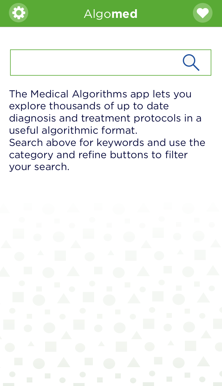 Algomed app home screen screenshot